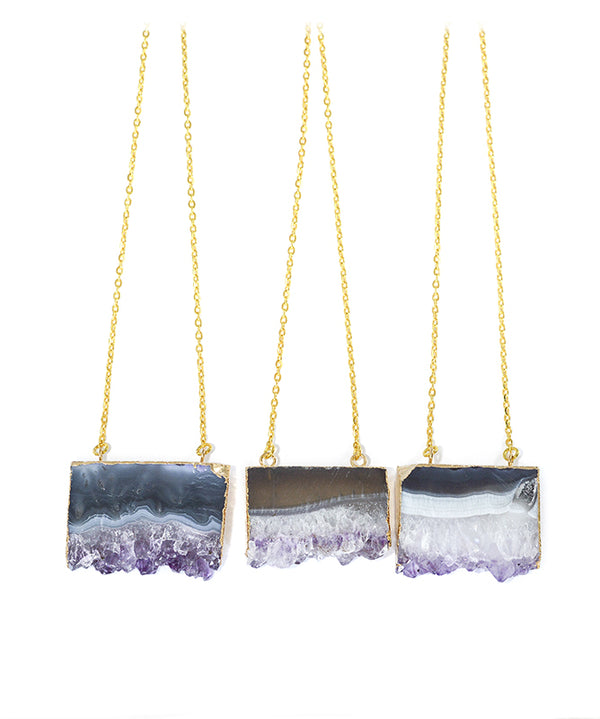 Amethyst Crystal Slice Gold Necklace