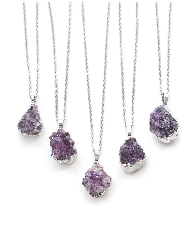 Tibetan Amethyst Crystal Quartz Druzy Necklace