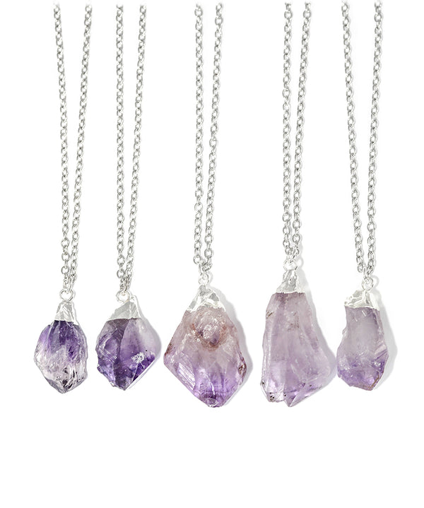 Silver Moon & Amethyst Crystal Layered Necklace