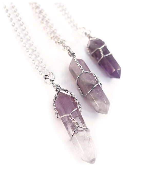 Long Tibetan Amethyst Crystal Bullet Necklace