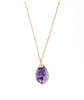 Amethyst Quartz Crystal Cluster Gold Necklace