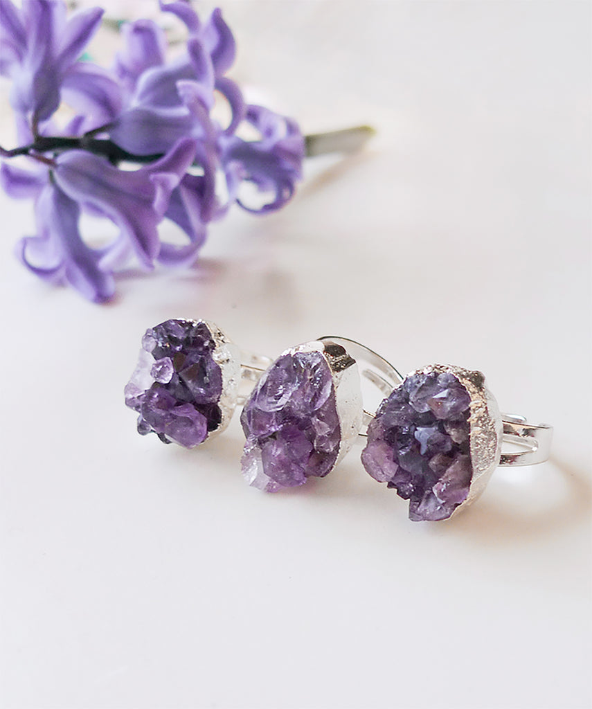 Amethyst Crystal Druzy Sparkly Cocktail Ring