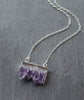 Amethyst Crystal Slice Silver Necklace