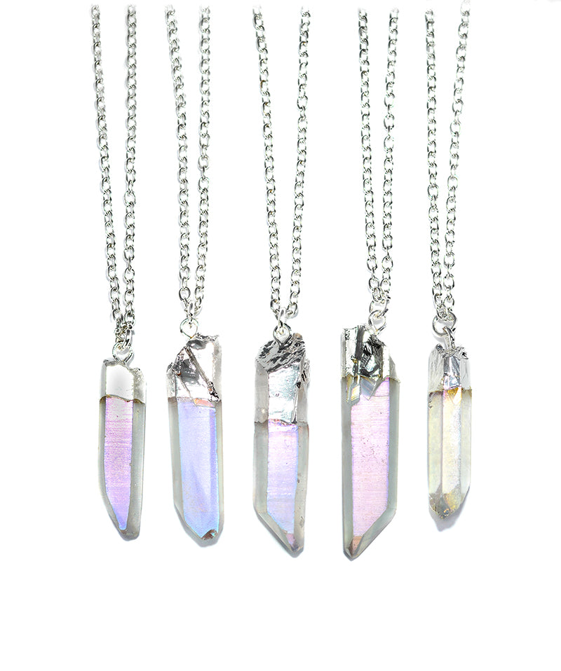 Angel Aura Rainbow Clear Quartz Necklace