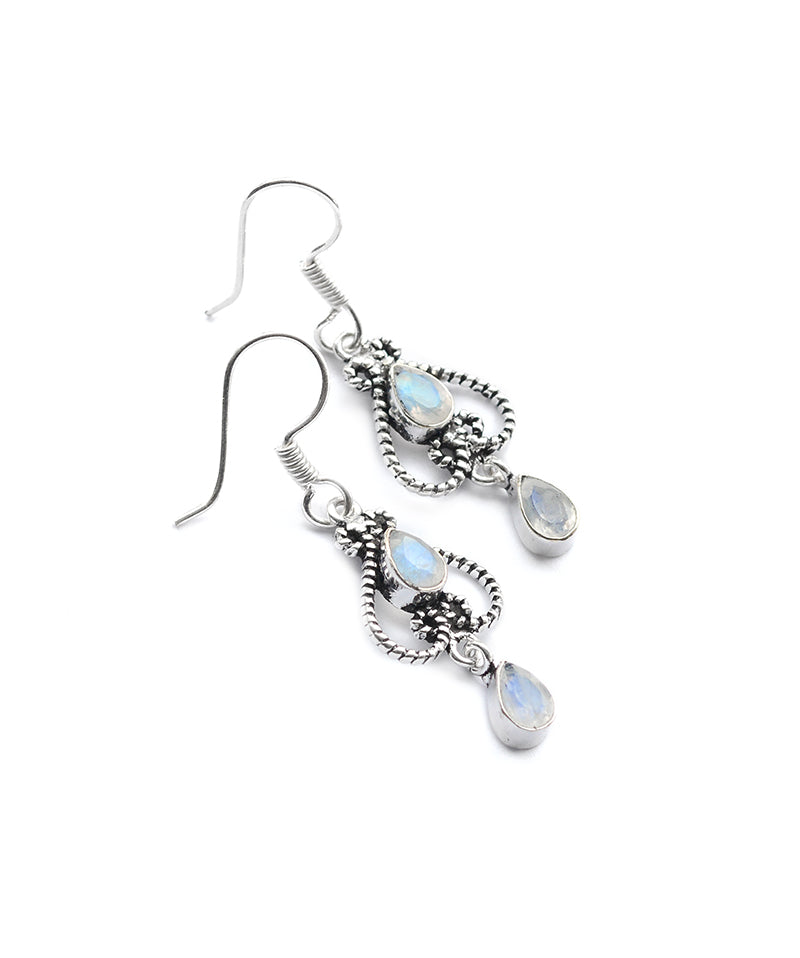 Astral Rainbow Moonstone Sterling Silver Drop Earrings