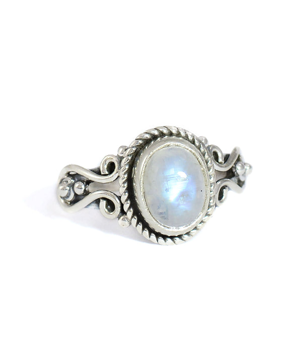 Aura Moonstone Crystal Sterling Silver Ring