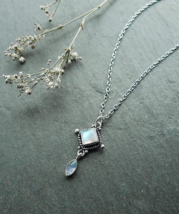 Aurora Rainbow Moonstone Crystal Quartz Necklace