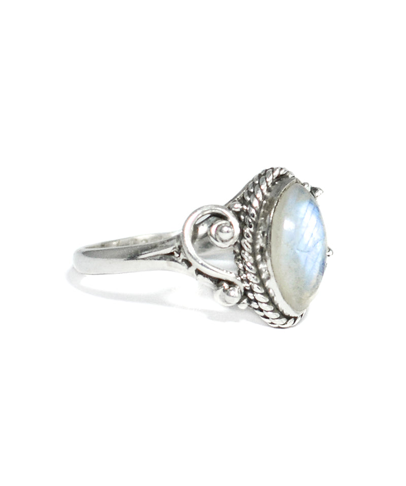 Aurora Rainbow Moonstone Sterling Silver Ring