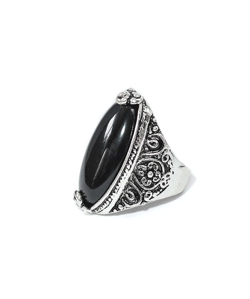 Tibetan Boho Black Oval Stone Ring