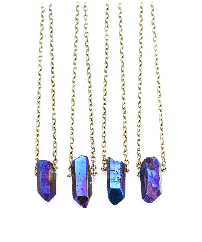 Blue Galaxy Quartz Crystal Pendant Necklace