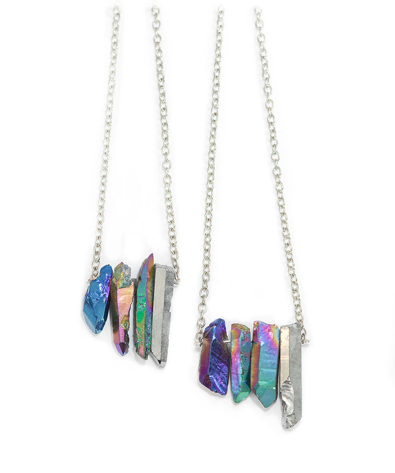 Blue & Rainbow Cluster Healing Crystal Necklace