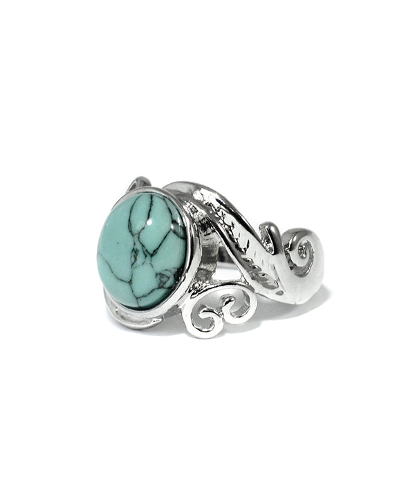 Bohemian Turquoise Stone Ornate Silver Ring