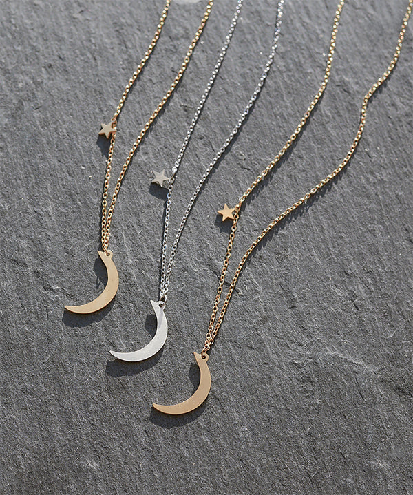 Delicate Moon & Star Layering Necklace