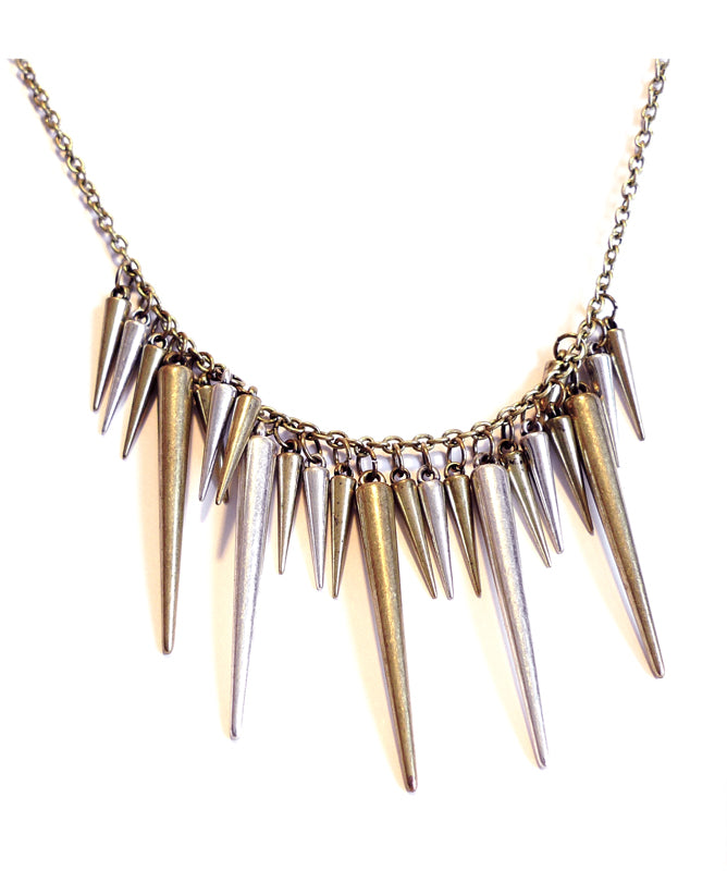 Amelia Bronze and Gunmetal Spikes Necklace