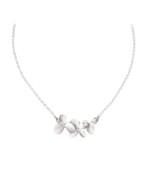 Cascading Silver Orchid Floral Pendant Necklace