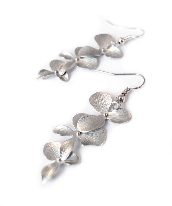 Cascading Orchid Floral Silver Earrings