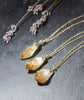 Golden Citrine Quartz Crystal Cluster Necklace