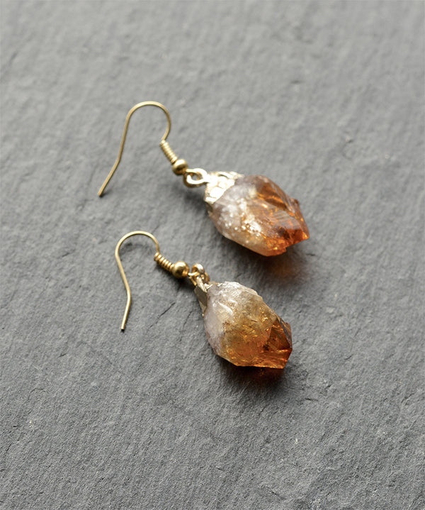 Golden Citrine Quartz Crystal Cluster Earrings