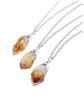Citrine Quartz Crystal Cluster Silver Dipped Necklace