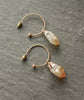 Citrine Quartz Crystal Gold Hoop Earrings