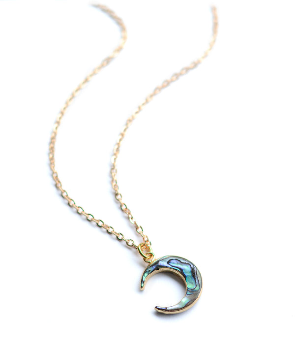 Crescent Moon Abalone Pendant Necklace