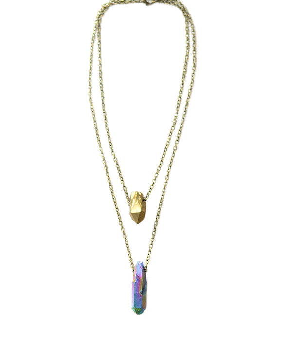 Double Chain Rainbow & Gold Quartz Necklace