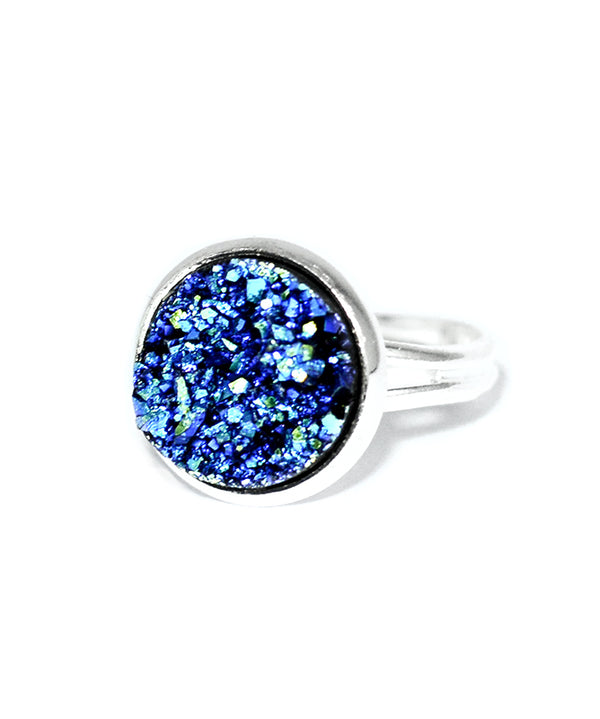Galaxy Blue Druzy Crystal Cocktail Ring