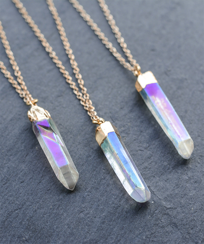 Gold Angel Aura Rainbow Clear Quartz Necklace