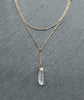 Gold Clear Quartz Crystal Layered Chain Necklace