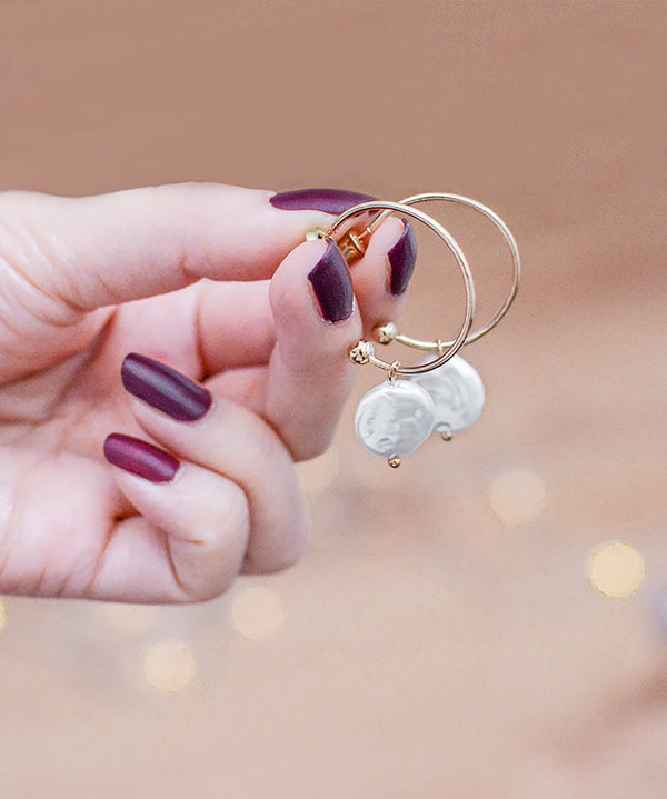 Pearl Charm Gold Hoop Earrings