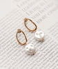Arty Gold Hoop Pearl Drop Earrings