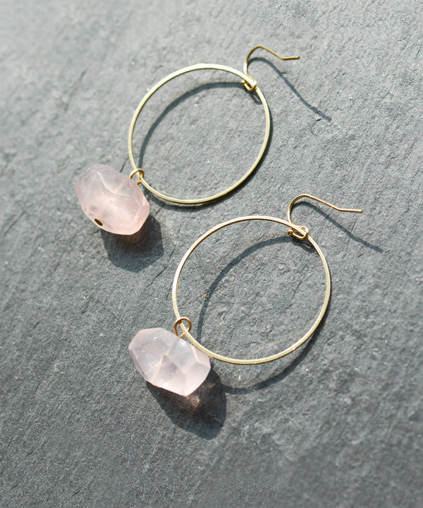 Rose Quartz Crystal Gold Hoop Earrings