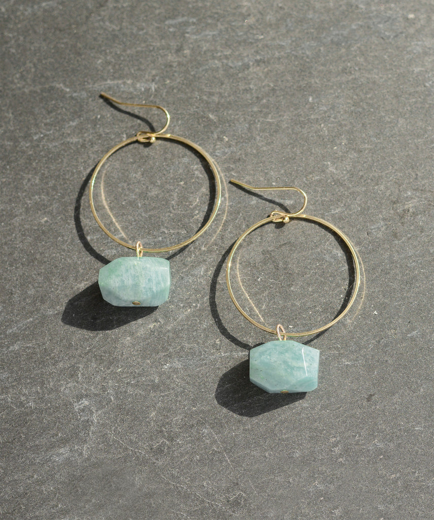 Pastel Turquoise Amazonite Gold Hoop Earrings