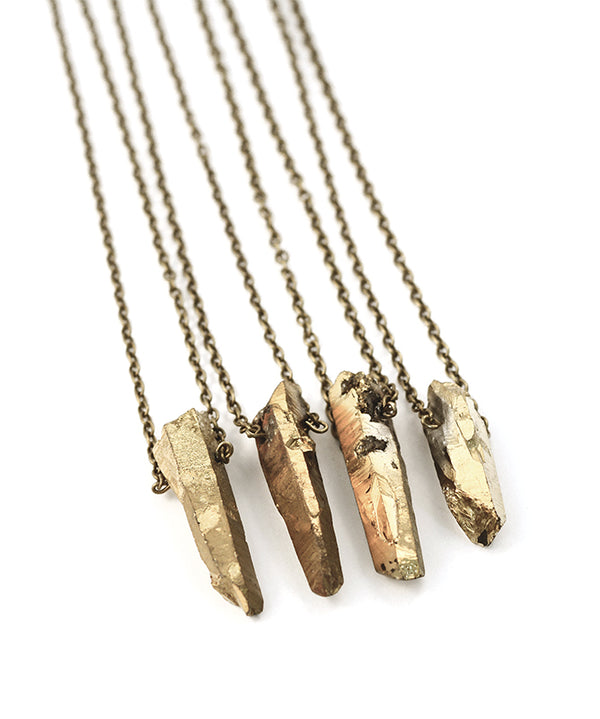 Gold Luxe Crystal Bullet Stone Necklace