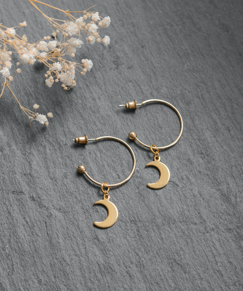 Gold Moon Charm Hoop Earrings