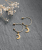 Gold Moon & Star Charm Hoop Earrings