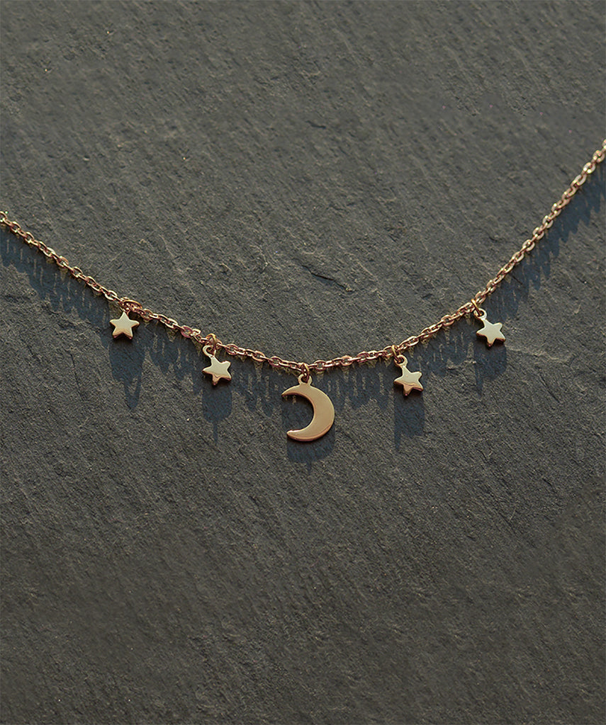 Moon & Stars Gold Layering Choker Necklace