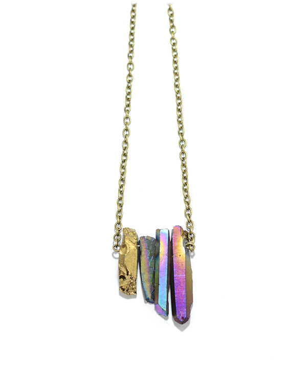 Gold & Rainbow Cluster Healing Crystal Necklace