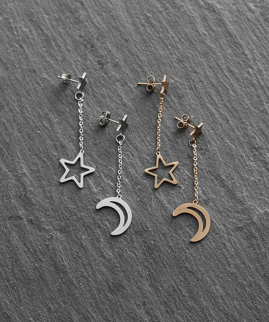 Gold Silver Moon & Star Drop Earrings
