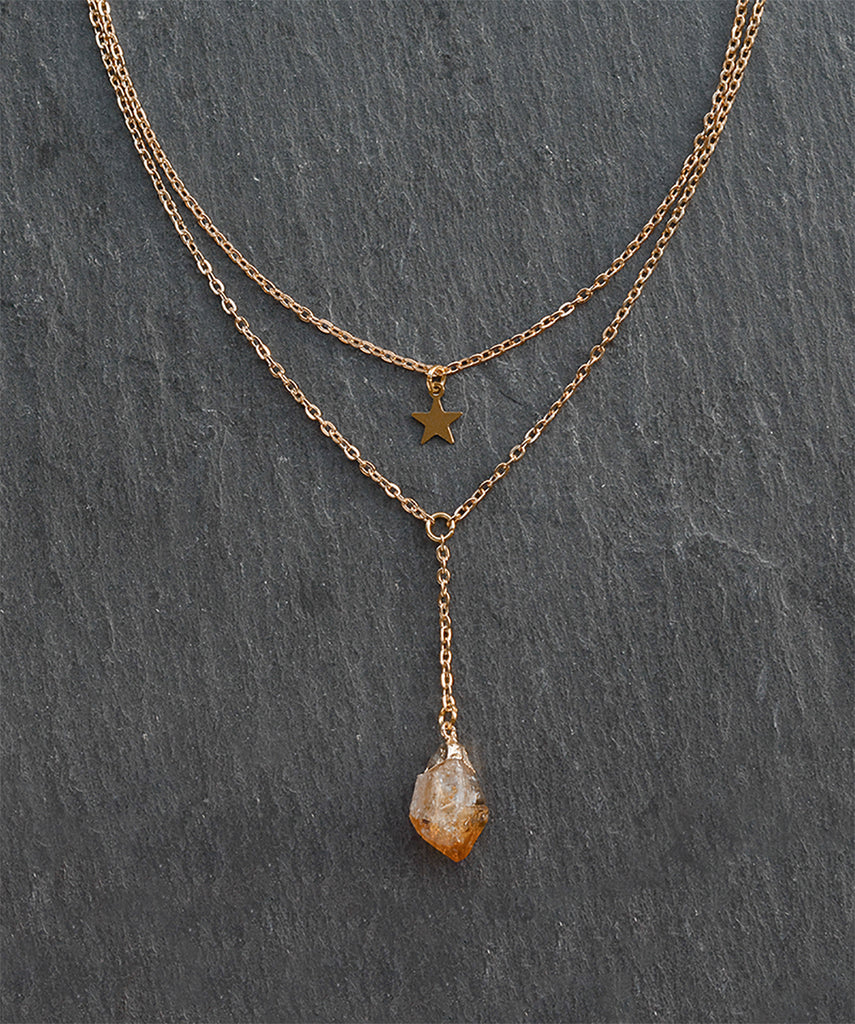 Gold Star Citrine Crystal Layered Necklace