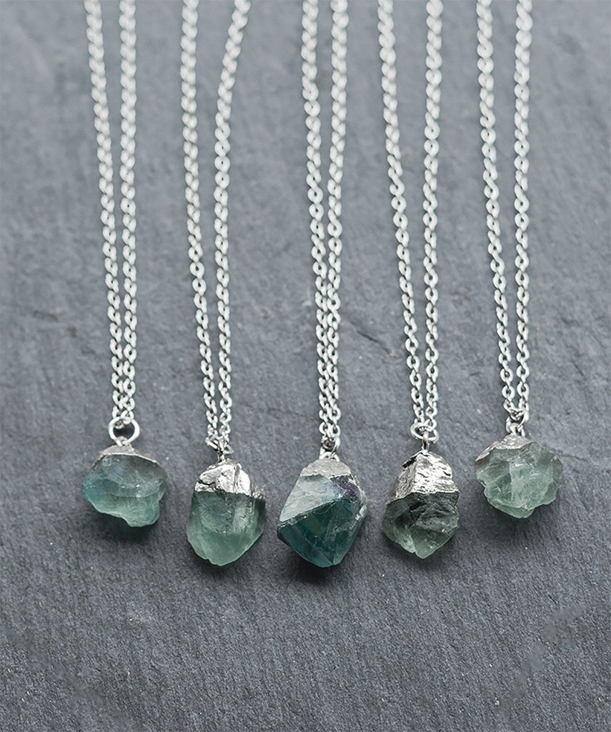 Green Fluorite Crystal Quartz Cluster Necklace