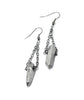 Luxe Gunmetal Crystal Quartz Stone Earrings