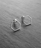 Silver Plated Hexagon Stud Earrings