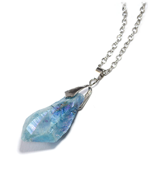 Iridescent Icy Blue Quartz Crystal Necklace