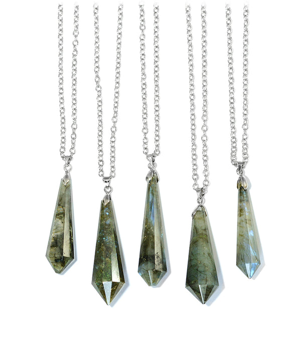 Silver Moon & Labradorite Crystal Layered Necklace
