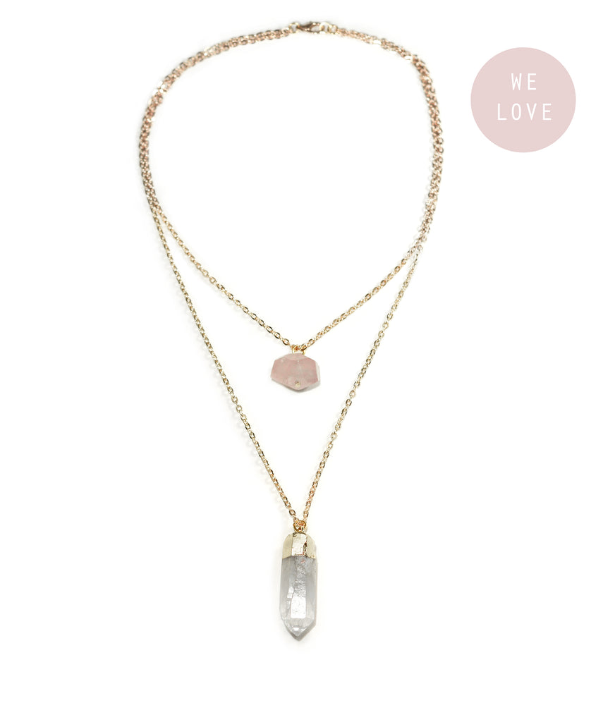 Rose Quartz & Gold Clear Quartz Layered Necklace