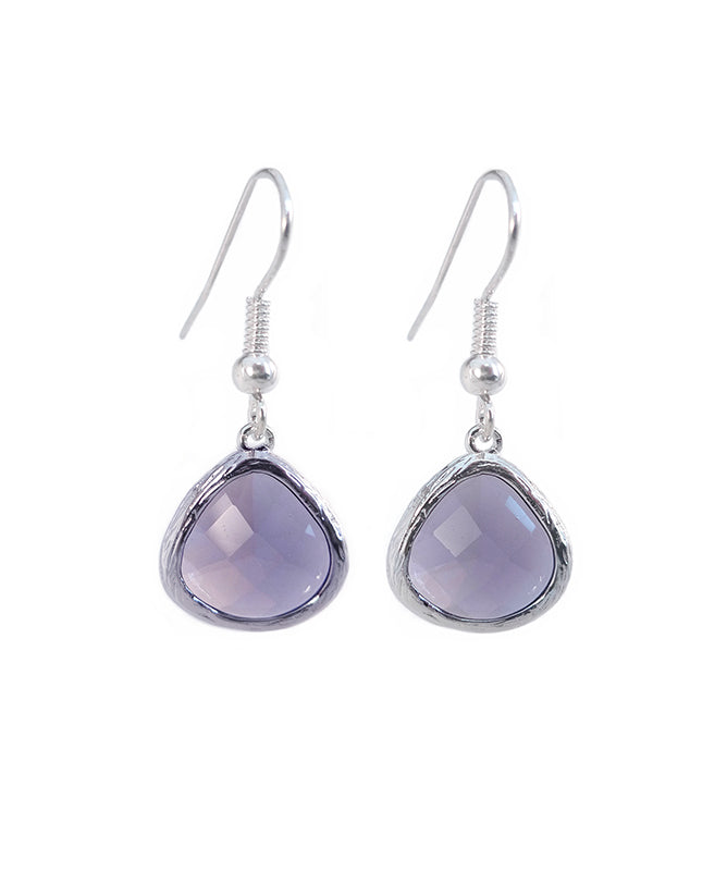 Lilac Crystal Matte Silver Drop Earrings