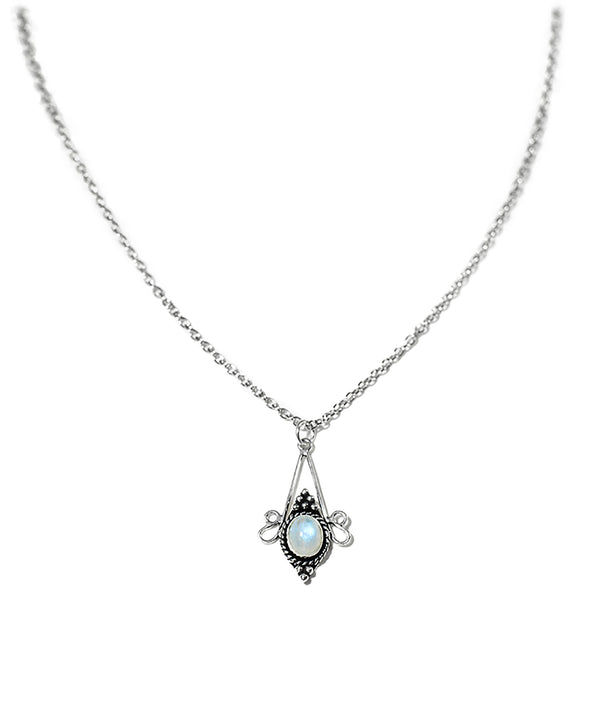 Luna Rainbow Moonstone Crystal Quartz Necklace