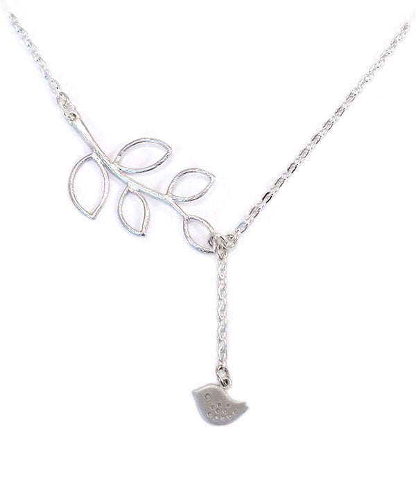 Matte Silver Leaf & Birdy Premium Necklace