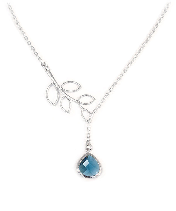 Matte Silver Leaf Blue Lariat Necklace